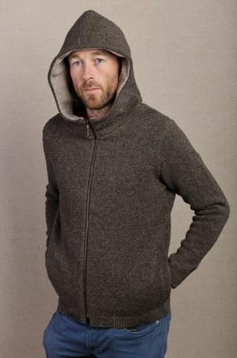 veste laine marron avec capuche col chaud