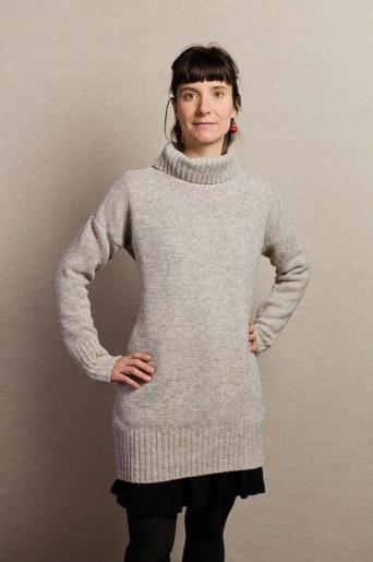 pull blanc beige col roulé long pure laine femme