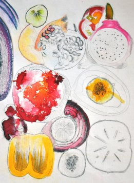 Fresh food - food colouring, conte pastel, 2007