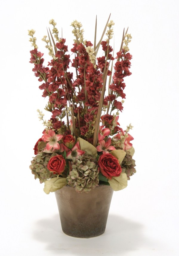 Burgundy And Green Floral In Glazed Bronze Orchid Pot