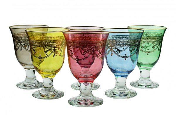 Set Of 6 Colored Wine Glasses With Rich Gold Design