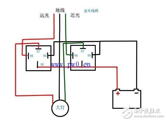 汽車大燈繼電器的詳細接法_汽車繼電器的接線方法和原理圖 - 電子發燒友網