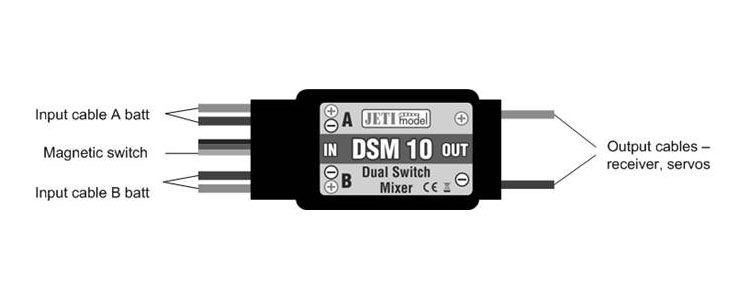 Jeti Electronic Switch Dual Redundant with Magnetic Key DSM 10