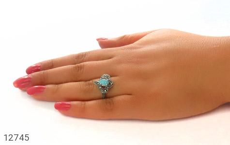 انگشتر مارکازیت و فیروزه نیشابور زیبا طرح دلبر زنانه کد