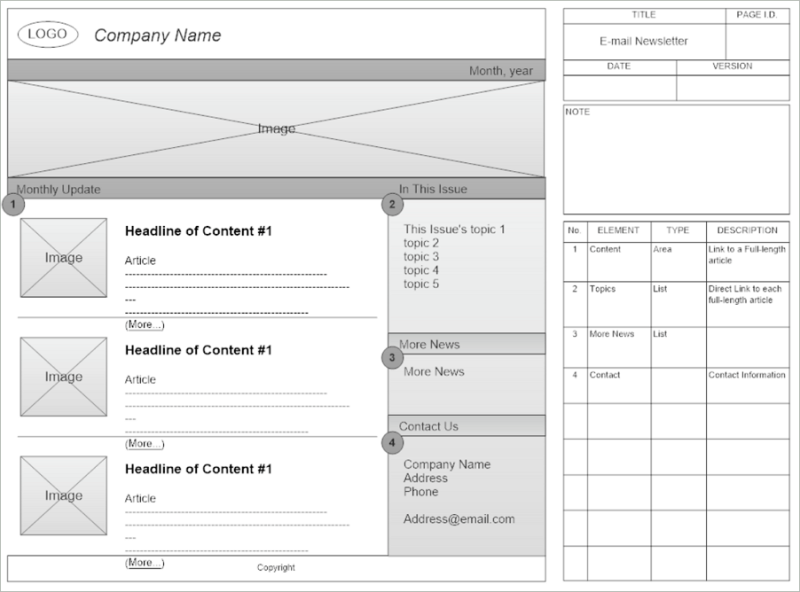 Email Newsletter Wireframe