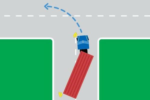 a turning heavy vehicle