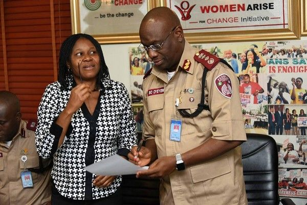a FRSC officer and a woman
