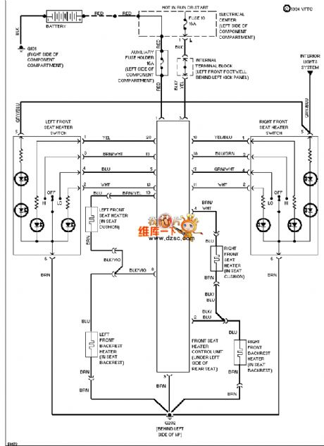 Mercedes-Benz 190E seat heater circuit diagram