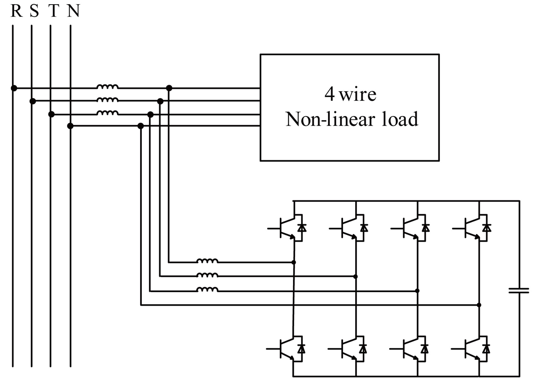 hight resolution of four pole four wire parallel active filter