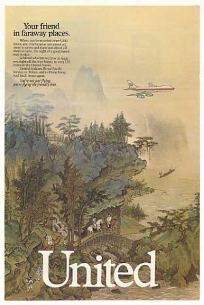 United Airlines Friend Faraway Places Hong Kong (1985)