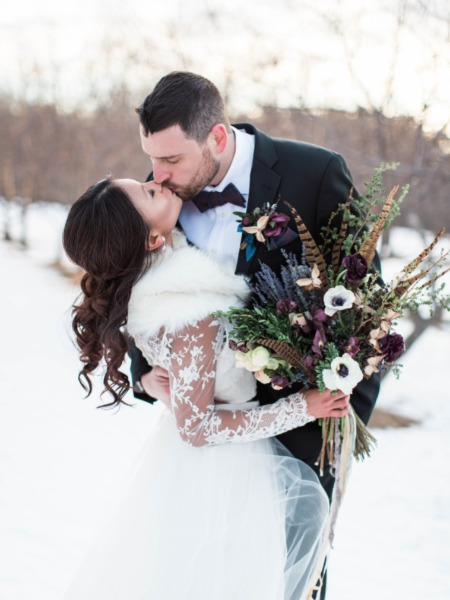 Calligraphy Flowers Burgundy And Blue Winter Wedding Ideas From Maine