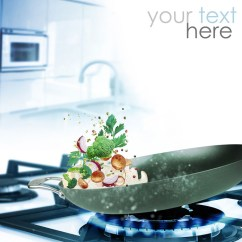 Kitchen Range Hoods Non Scratch Sinks 燃气灶上炒菜的平底锅动感高清图片 - 素材中国16素材网