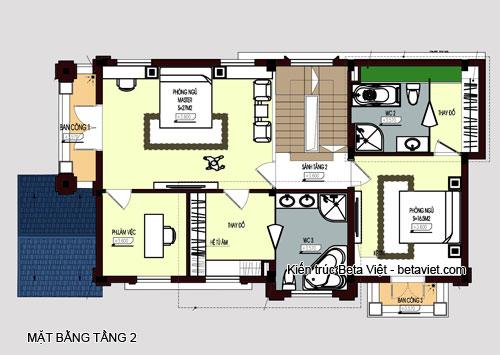 Diện tích tầng 2 của biệt thự cổ điển