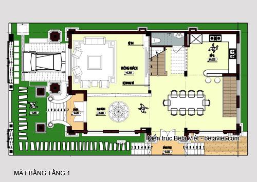 Diện tích tầng 1 của biệt thự cổ điển