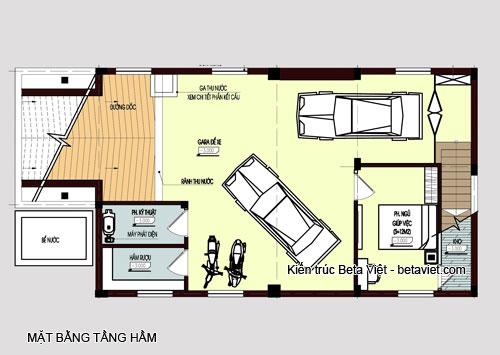 Diện tích tầng hầm biệt thự cổ điển: 113 m2