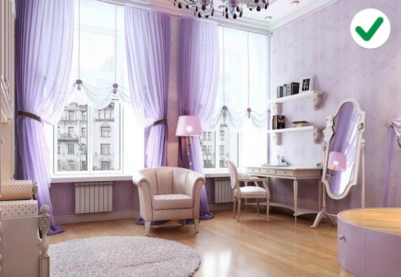 phòng khách màu tím nhạt
