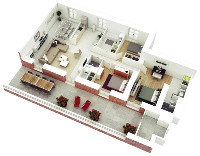 bản vẽ chi tiết thiết kế các phòng chức năng của căn hộ