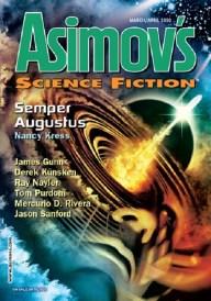 Asimov's March-April 2020 edited by Sheila Williams, reprint art by John Picacio