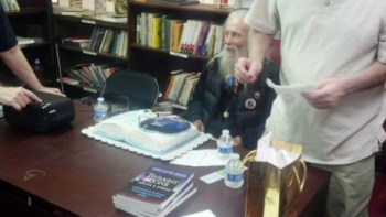 George Clayton Johnson with 86th birthday cake.