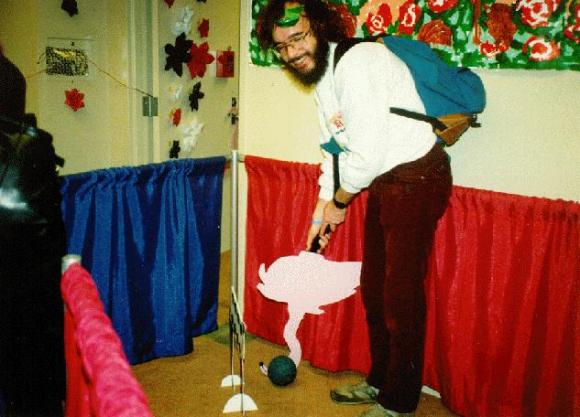 Graham Collins playing flamingo croquet. Photo by Terry McGarry.