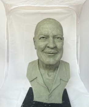 """Artist's proof"" of Heinlein bust by artist E. Spencer Schubert ."