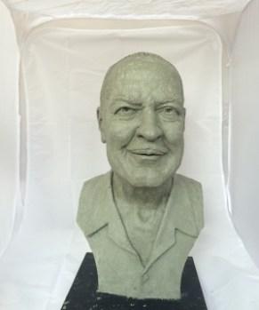 """""""Artist's proof"""" of Heinlein bust by artist E. Spencer Schubert ."""