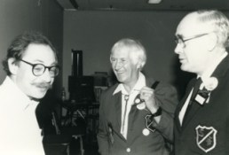 Sidney Coleman, Dave Kyle and James White at the 1987 Worldcon. Photo by and copyright © Andrew Porter
