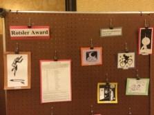 Close-up of Rotsler Award history display. Photo by Kenn Bates.