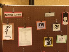 Close-up of Rotsler Award history display. Photo by Kenn Bates.