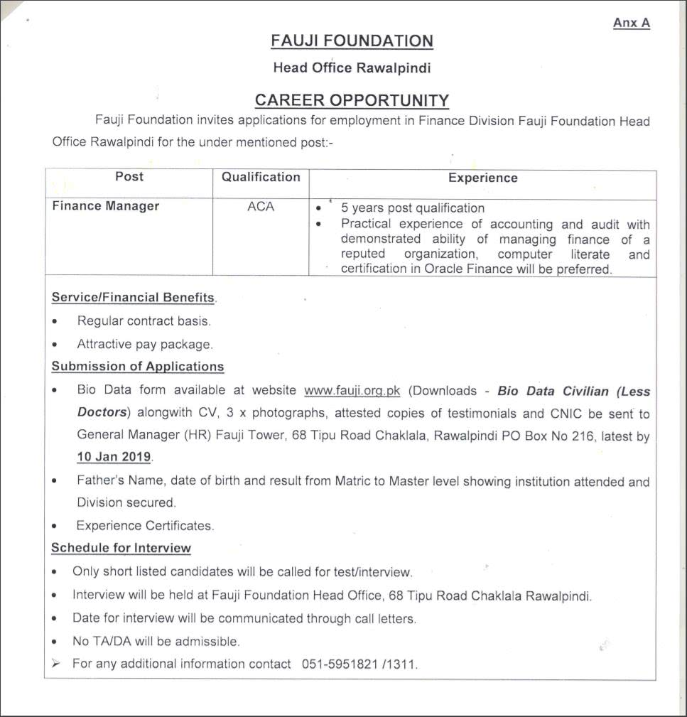 Finance Manager Job Description Po Box 216 Finance Manager Jobs Fauji Foundation 2019 Filectory