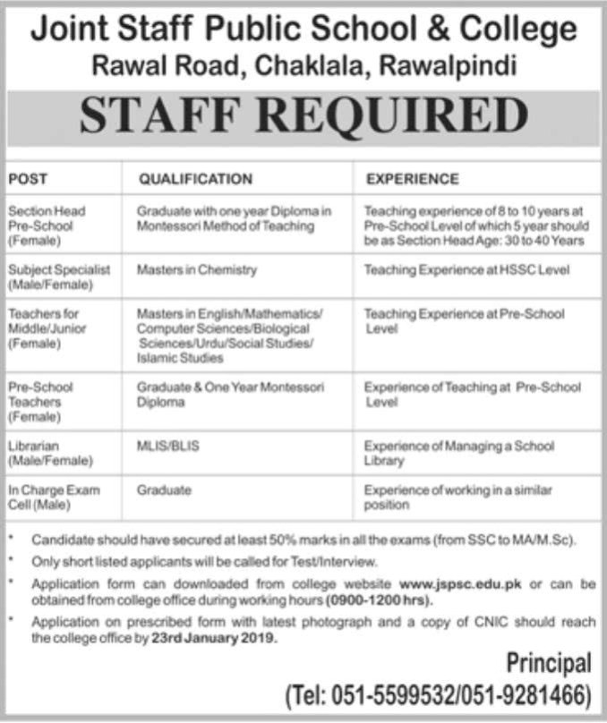 fb9fe8caab0 Joint Staff Public School and College Rawalpindi Jobs 2019 - Filectory