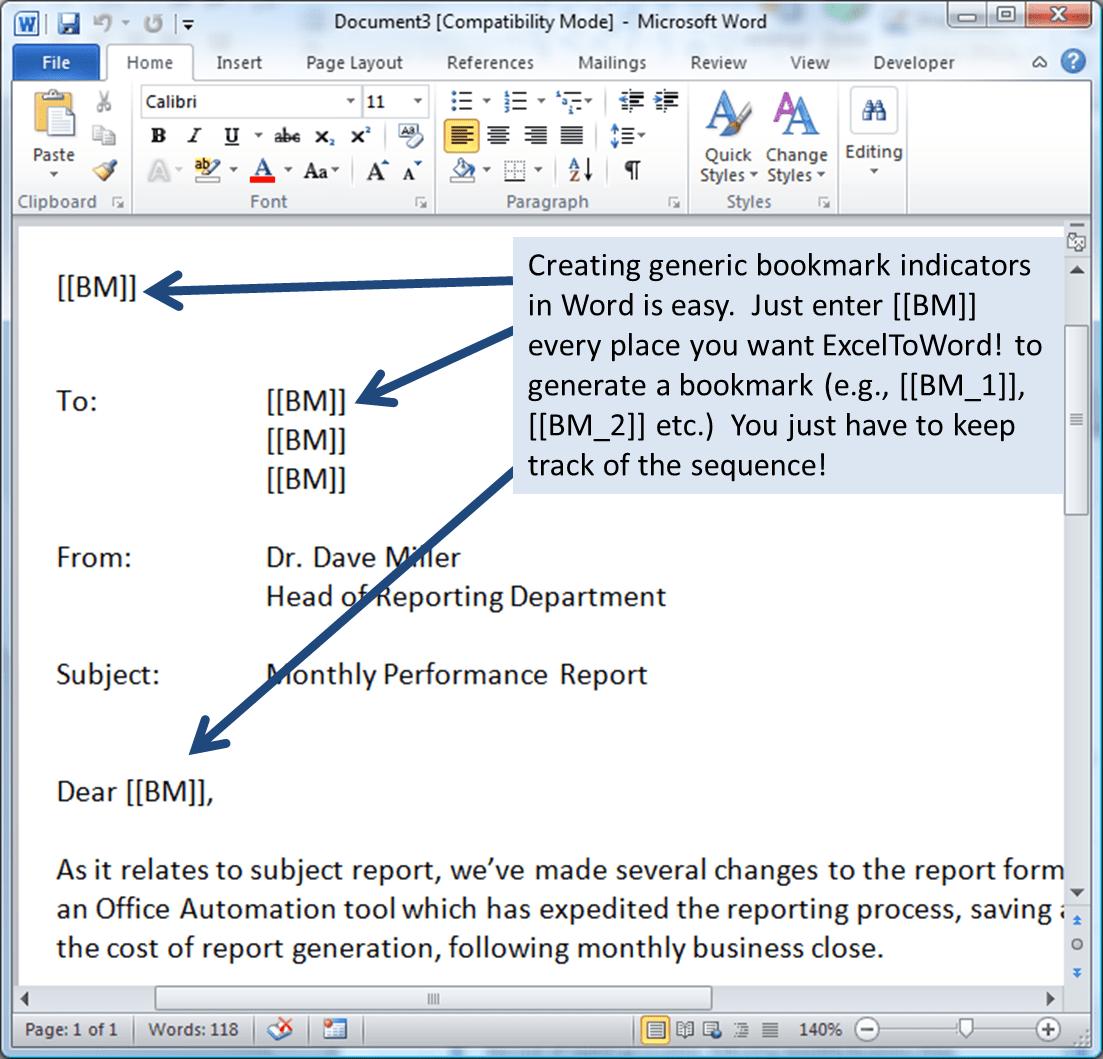 Figure-2: Creating Generic Bookmark Indicators In Word