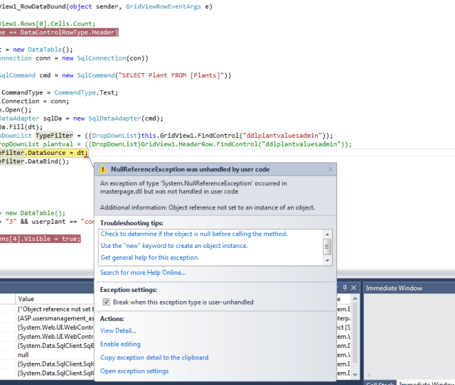 Trying To Fill Dropdownlist In A Header Control Of Gridview But It Is Throwing A Object Reference Not Set To An Instance Of An Object