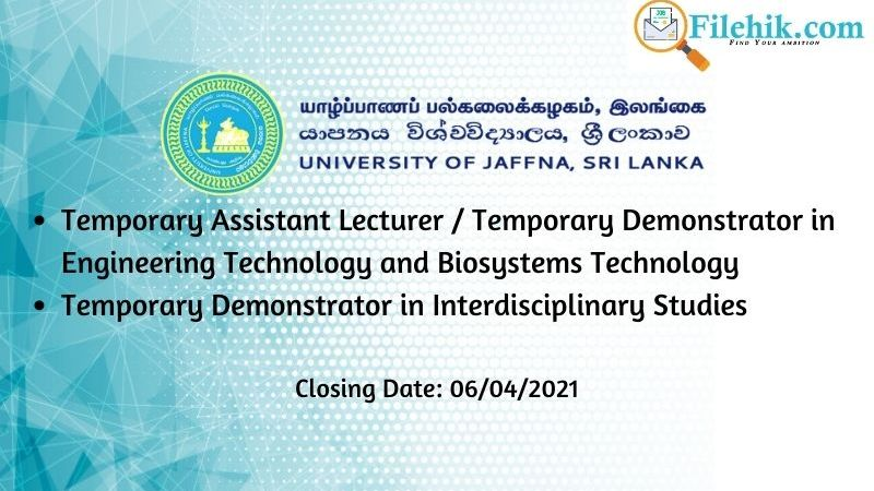 Temporary Assistant Lecturer, Demonstrator