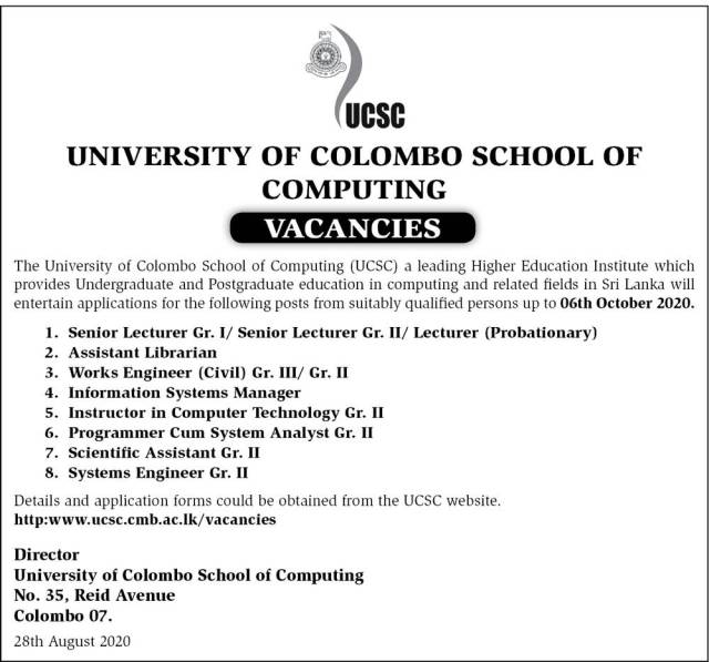 Assistant Librarian, Works Engineer (Civil), Information Systems Manager, Senior Lecturer (Grade I / Ii), Lecturer (Probationary), Instructor, Programmer Cum System Analyst, Scientific Assistant, Systems Engineer