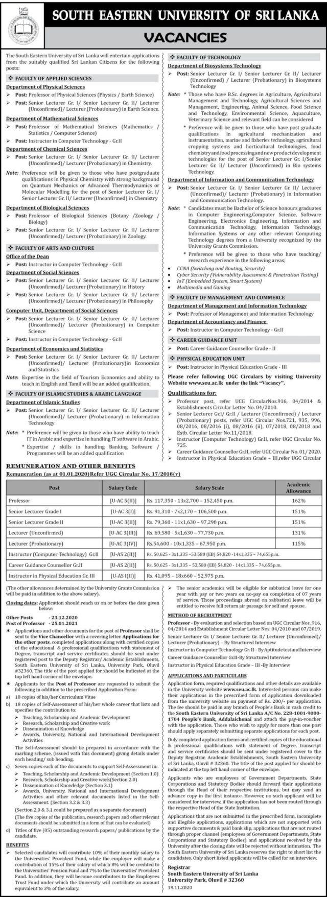Vacancies At South Eastern University Of Sri Lanka
