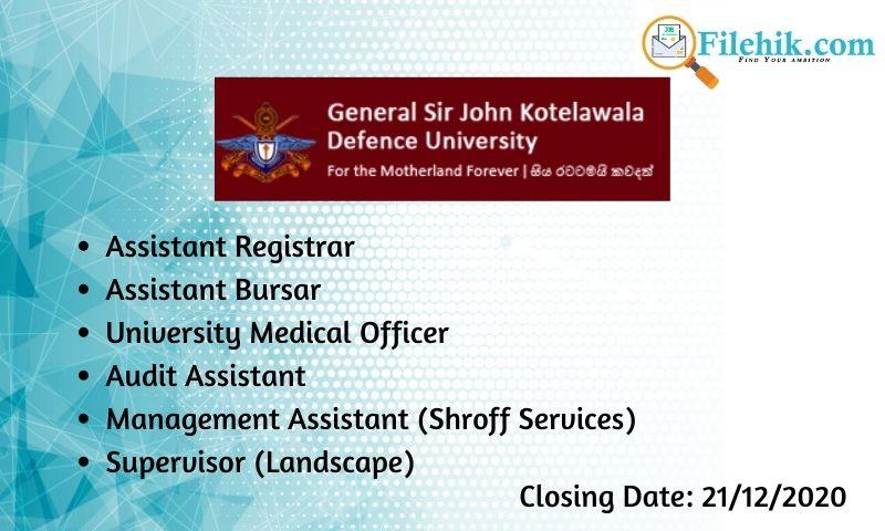 Assistant Registrar, Assistant Bursar, University Medical Officer, Audit Assistant, Management Assistant (Shroff Services), Supervisor (Landscape)