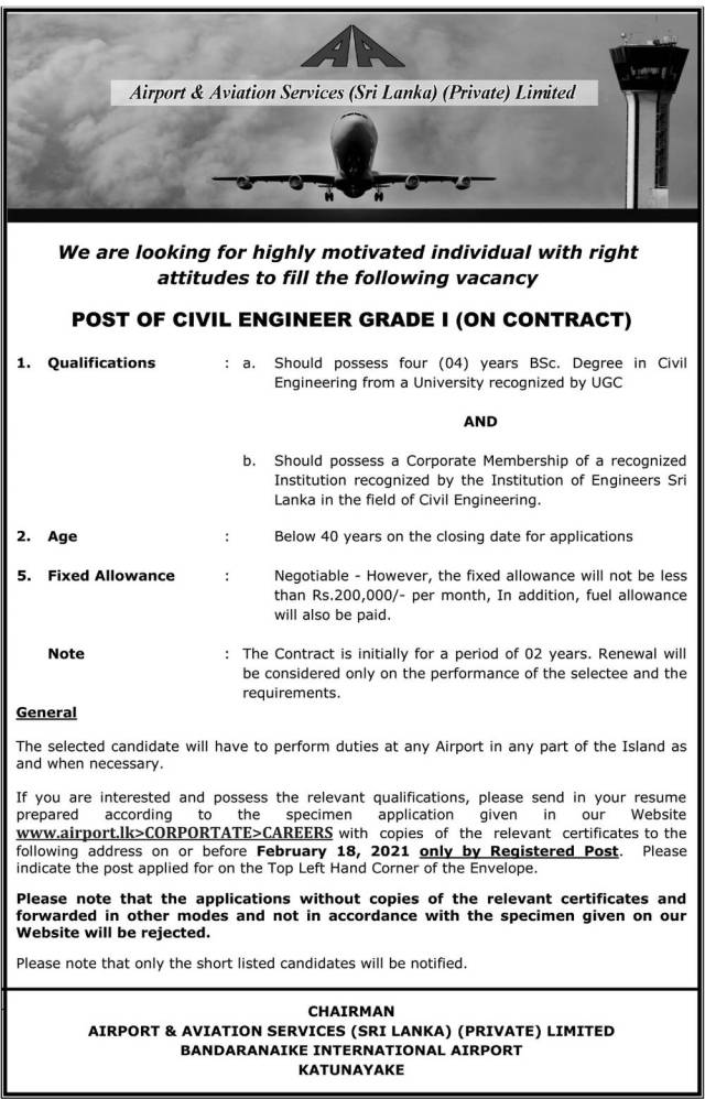 Civil Engineer - Airport &Amp; Aviation Services