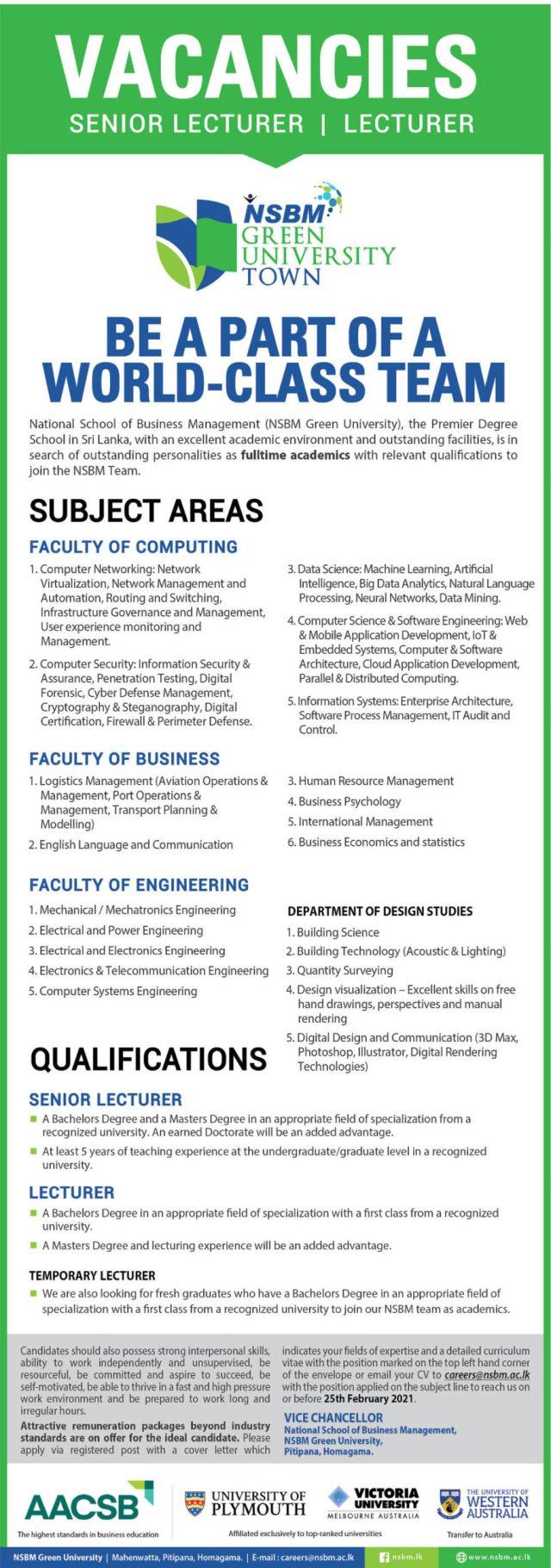 Senior Lecturer, Lecturer - Nsbm Green University