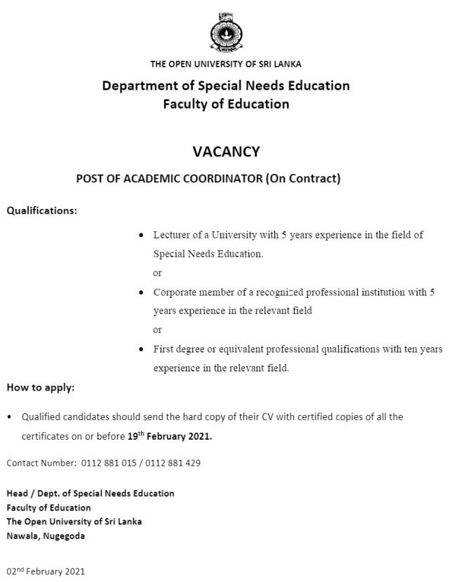 Post Of Academic Coordinator - The Open University Of Sri Lanka