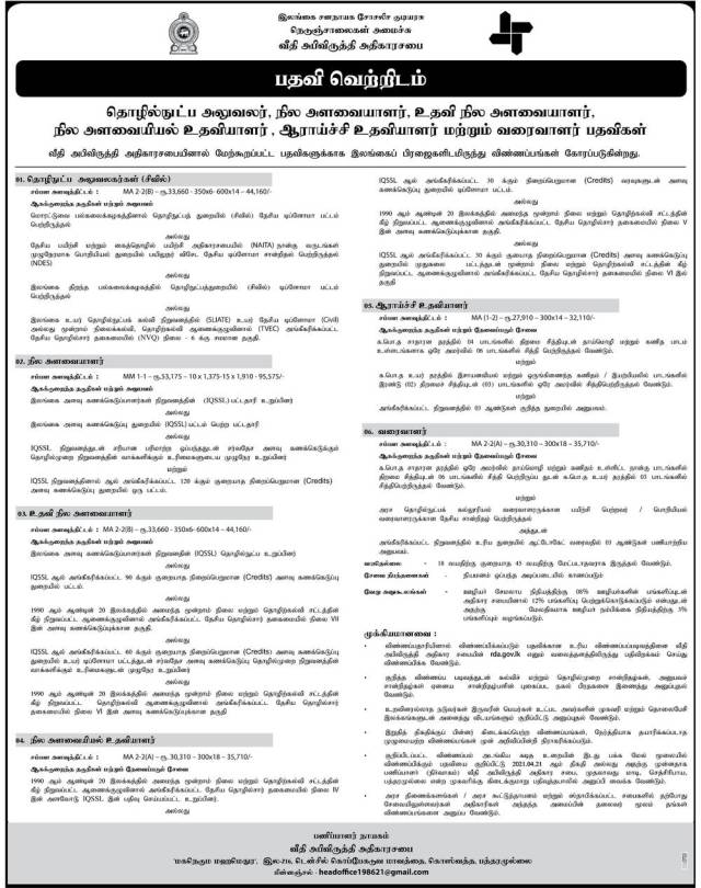 Technical Officer, Quantity Surveyor, Research Assistant