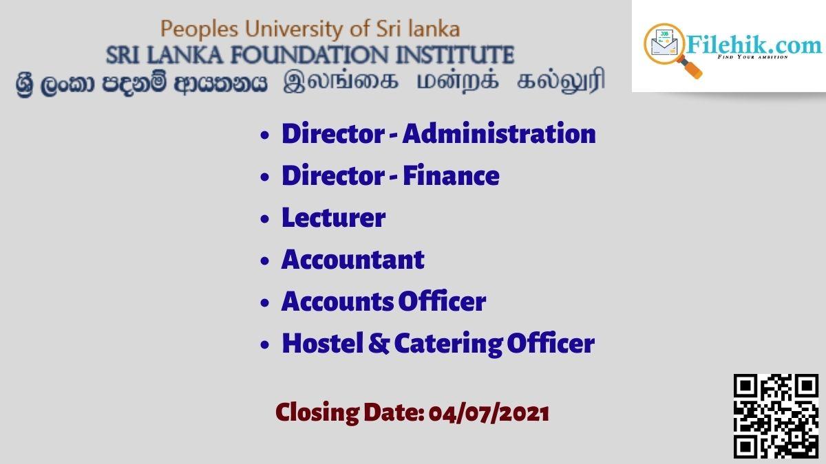Sri Lanka Foundation Carrier Opportunities 2021