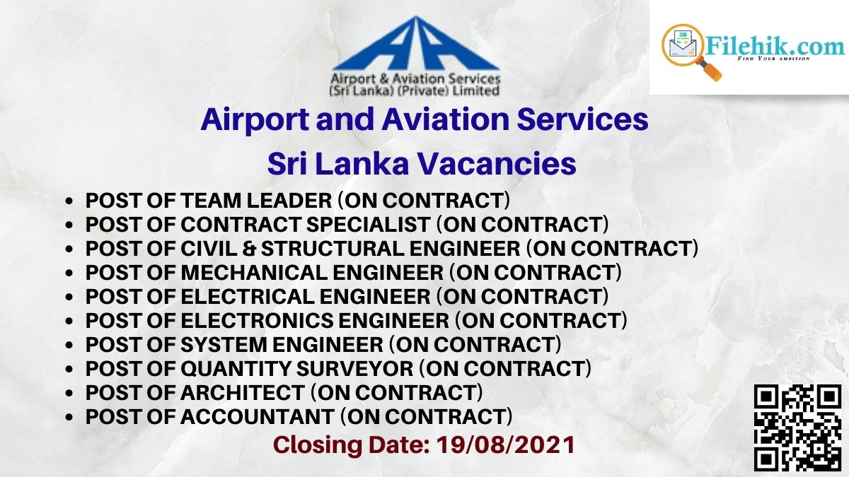 Airport And Aviation Services Sri Lanka Career Opportunities 2021