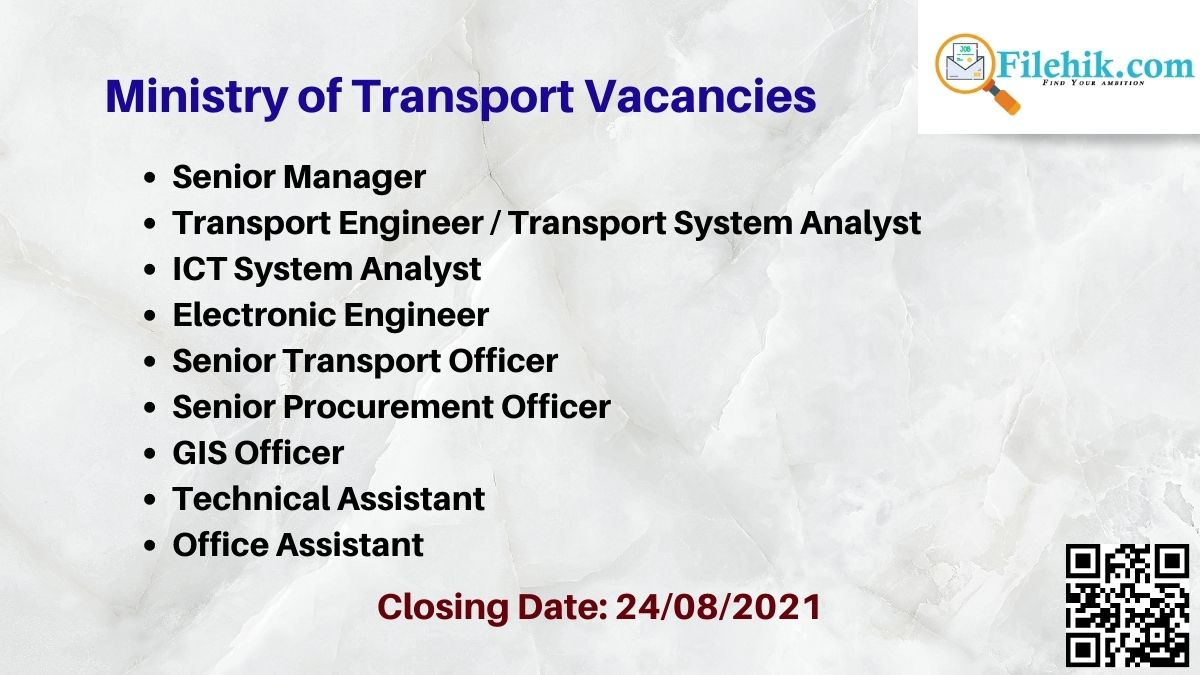 Ministry Of Transport Career Opportunities 2021