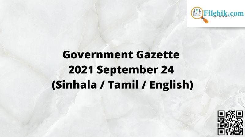 Government Gazette 2021 September 24