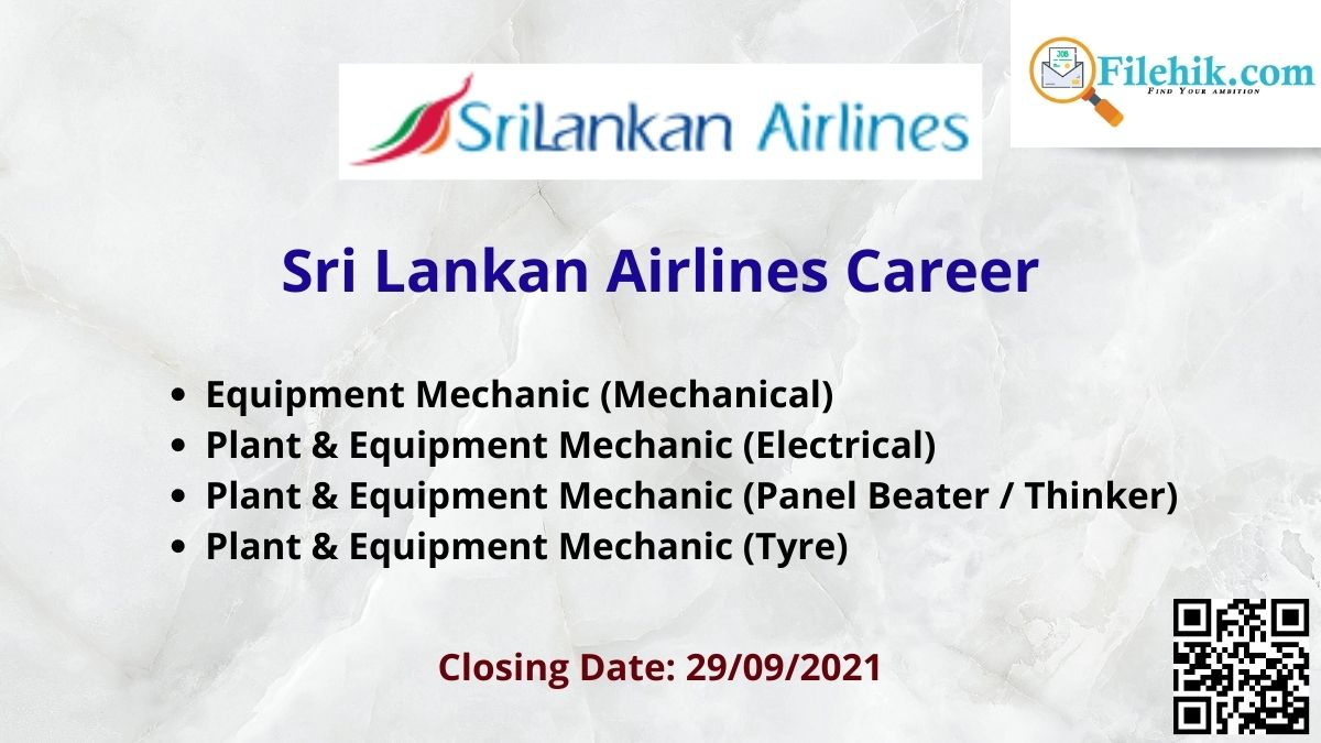 Sri Lankan Airlines Career Opportunities 2021