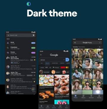 dark theme mode in android 10