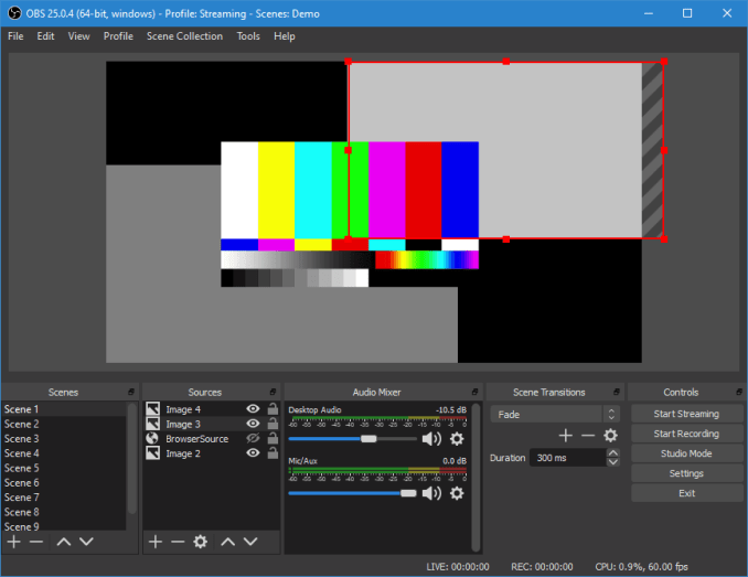 OBS Demo software for video recording