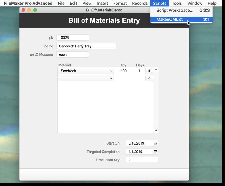 Bill of Materials – FileMakerHacks