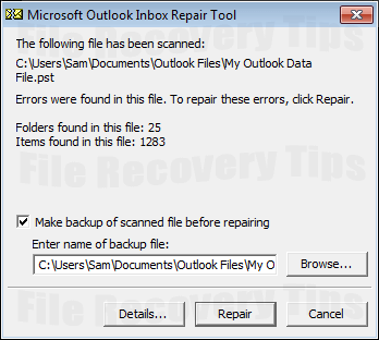 recover Outlook mailbox from corrupt PST file